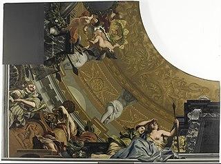 Onderdeel (linksonder) van een plafondschildering met als hoofdvoorstelling Diana en haar gezellinnen