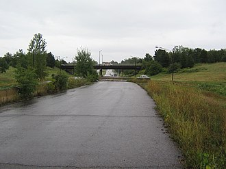 Interstate 189 - Unused section of 189 to the west of US 7; the current interchange is visible in the distance.