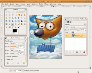 Application software - GNU Image Manipulation Program (GIMP), version 2.6, a freely distributed application