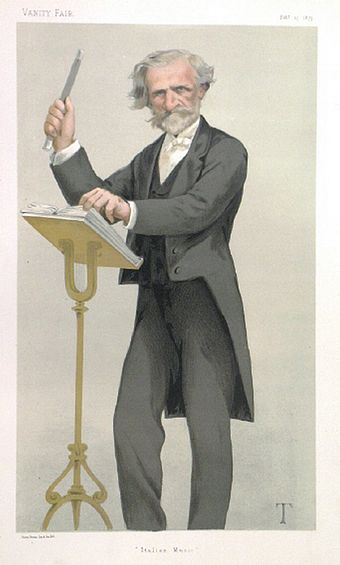 Giuseppe Verdi in Vanity Fair (1879) Giuseppe Verdi 1879 Vanity Fair illustration by Theobald Chartran.jpg