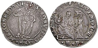 Alvise I Mocenigo - Giustina (a type of medal-coin) of Alvise I Mocenigo, with the value of 40 soldi.