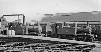 Gloucester railway station - Two 0-4-2Ts employed on the auto-train service to Chalford in 1962