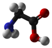 Ball-and-stick model of the glycine molecule