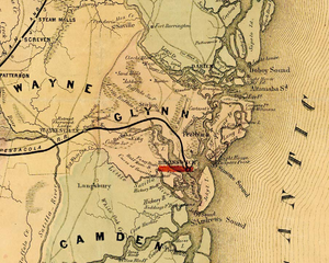 Fort Barrington - Map from 1864 that shows the location of the fort.