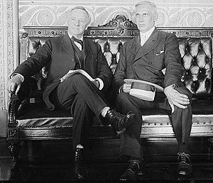Gordon Woodbury - Woodbury (left) meeting with Secretary of the Navy Josephus Daniels, 1920