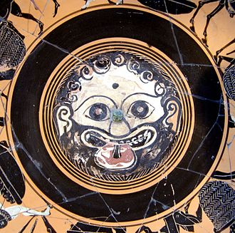 Gorgoneion - Gorgoneion on the Tondo of an Ancient Greek Attic black-figured cup, end of sixth century BC - Cabinet des médailles de la Bibliothèque nationale de France, Paris, France.