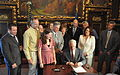 Governor Dayton holding a signing ceremony for a youth concussion awareness bill.jpg