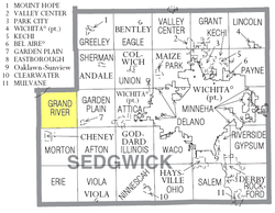 Location of Grand River Township in Sedgwick County