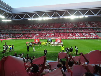Lille OSC - Lille lining up at the Stade Pierre-Mauroy before its first match in 2012