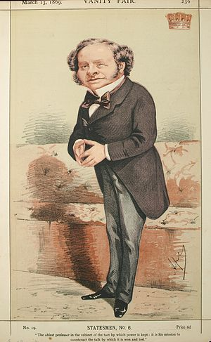 Granville Leveson-Gower, 2nd Earl Granville - Caricature by Ape published in Vanity Fair in 1869.