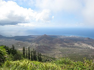 Ascension Island - The island viewed from atop Green Mountain, looking south towards Two Boats Village and Georgetown.
