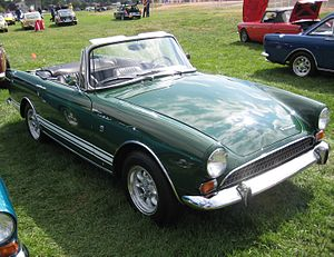 "Sunbeam Tiger - Apart from the bigger engine the changes to the Mark II Tiger were largely cosmetic: the most obvious are the speed stripes and the ""egg crate"" radiator grille."