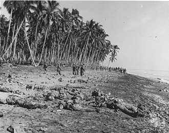 Banzai charge - Imperial Japanese Army soldiers lie dead on the sandbar at the mouth of Alligator Creek on Guadalcanal after being killed by US Marines during the Battle of the Tenaru, August 21, 1942