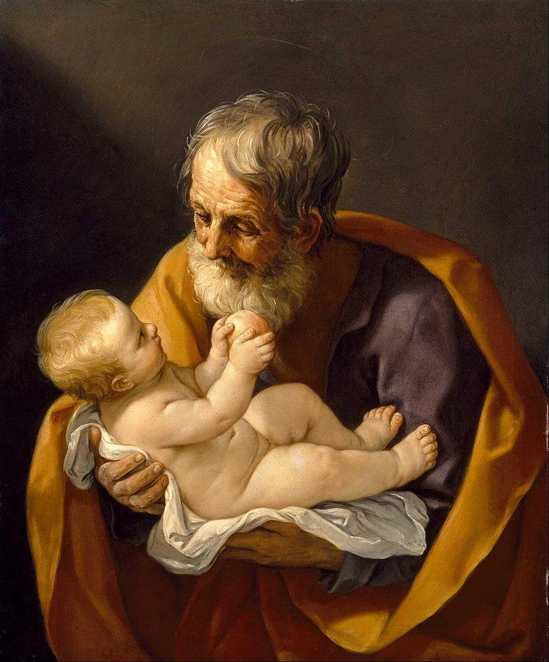 L'enfant Jésus dans les bras de Saint Joseph, par Guido Reni en 1635.