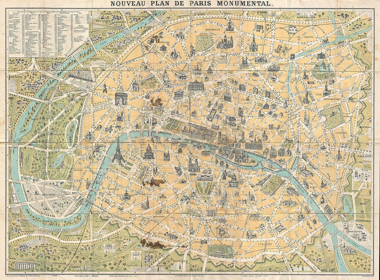 FileGuilmin Map Of Paris France Monuments Geographicus Paris - Bus map paris france