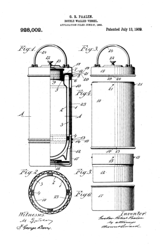Vacuum flask - Gustav Robert Paalen, Double Walled Vessel, 1. Patent June 27, 1908, published July 13th 1909