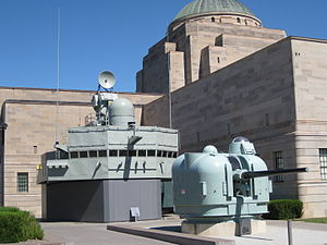 Perth-class destroyer - The bridge and forward gun turret of Brisbane on display at the Australian War Memorial