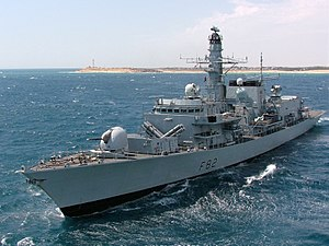 HMS Somerset of the Royal Navy. Type 23 frigat...