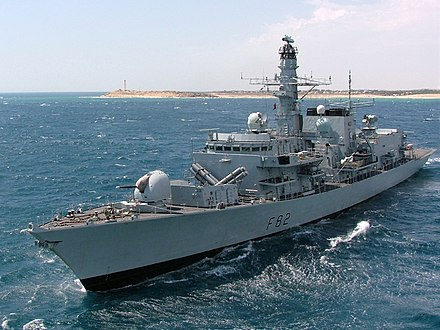 The Royal Navy Type 23 frigate is an anti-submarine vessel. HMS Somerset (F82).jpg