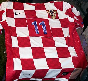 The Croatian chequy has been a symbol of Croatia since the Middle Ages. HNS dres 300410 1.jpg