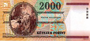 Gyula Benczúr's painting of Saint Stephen's baptism on the banknote commemorating the 1000th year of Hungarian statehood (2000)