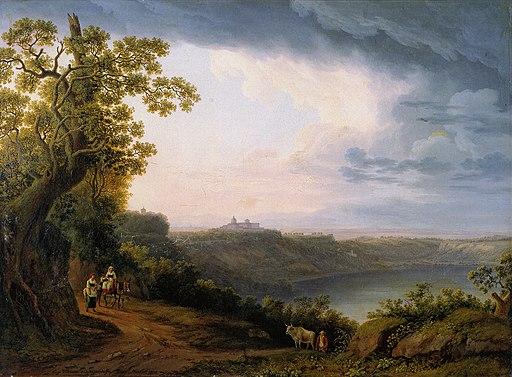 Hackert, Blick auf den Albaner See mit Castel Gandolfo, 1800