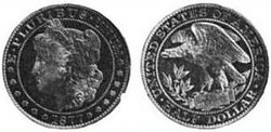 A pattern coin depicting a left-facing woman on the obverse and an eagle on the reverse