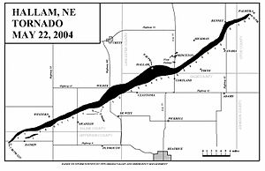 Tornado outbreak sequence of May 2004 - Path of the Hallam tornado.