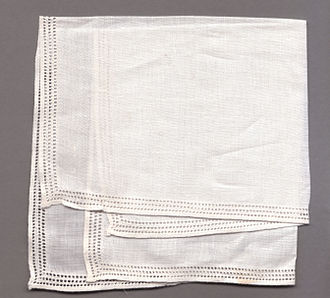 Linen - A linen handkerchief with drawn thread work around the edges