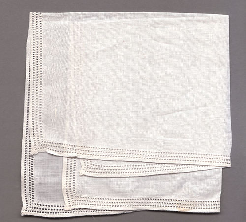 A linen handkerchief with drawn thread work around the edges Handkerchief.jpg