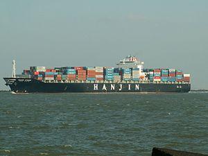 Hanjin Athens IMO 9200706, leaving Port of Rotterdam, Holland 24-Feb-2006.jpg