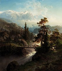 Landscape with Cattle and Waterfall