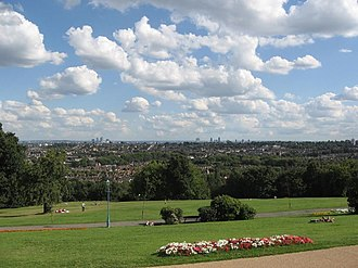 London Borough of Haringey - South-west Haringey with the City in the background, from Alexandra Palace, one of the highest points in London.