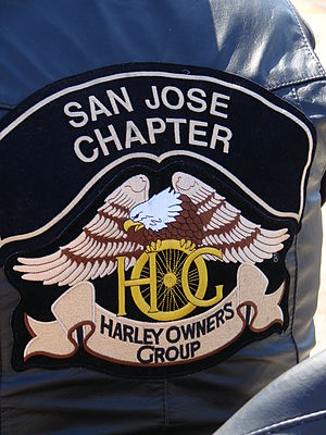 Harley Owners Group - HOG San Jose Chapter colors on a jacket.