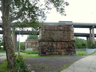 Harsimus Stem Embankment - Stone support pier of viaduct which carried the line westward to what is now Journal Square
