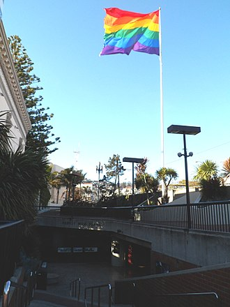 Harvey Milk Plaza - Rainbow flag in the plaza, 2013