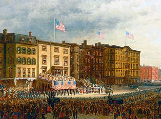 The Union League Club - Edward Lamson Henry's Presentation of Colors, 1864, depicts the outfitting of two African-American regiments at the Union League Club of New York's first clubhouse on 17th Street, facing Union Square