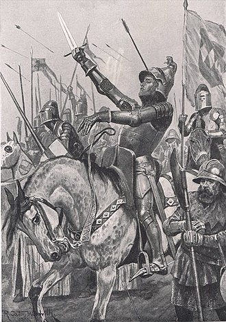 "Battle of Shrewsbury - Death of Henry ""Harry Hotspur"" Percy, from a 1910 illustration by Richard Caton Woodville, Jr."