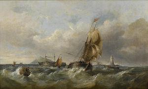 Henry King Taylor - A trading schooner in choppy seas off a moored hulk.jpg