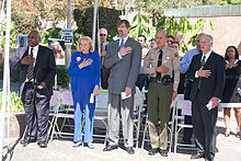 Henry Nicholas and his mother, Marcella Leach, join John Gillis, former National Director, U.S. Department of Justice Office for Victims of Crime, Los Angeles County Sheriff Lee Baca and then-California Attorney General Jerry Brown at the annual National Day of Remembrance event in downtown Los Angeles