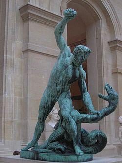 Hércules matando a Hidra de Lerna, no segundo trabalho.