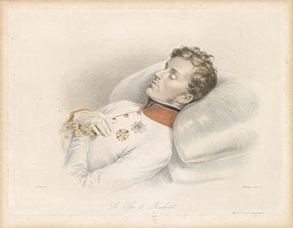 Napoleon II - Portrait on his death bed, engraved by Franz Xaver Stöber