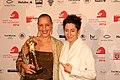 Hessischer Filmpreis 2016 - Catenia Lermer - Simon Stadler - Dunja Hayali.JPG