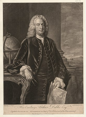 Arthur Dobbs - Image: His excellency Arthur Dobbs esq., captain general, governour in chief and vice admiral of the Provence of North Carolina in America (NYPL NYPG94 F42 419798)