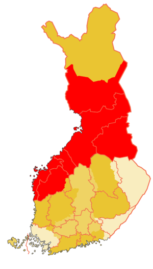 Ostrobothnia (historical province) - Historical province of Ostrobothnia (the borders of modern provinces with pink colour and the modern border of Finland, same as at the signing moment of final act of CSCE 1975)