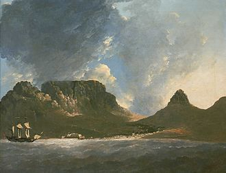 Table Mountain from Capt. Cook's ship HMS Resolution by William Hodges (1772) Hodges cape-good-hope.jpg