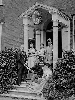 Gads Hill Place - Group portrait in the porch at Gads Hill Place in 1862, H.F. Chorley, Kate Dickens, Mamie Dickens, Charles Dickens, C.A. Collins and Georgina Hogarth