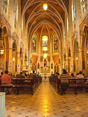 Christianity in Maharashtra - Inner view of Cathedral of the Holy Name, Colaba, Mumbai.