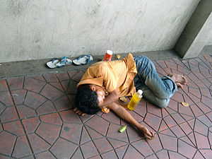 A homeless man in Bangkok, Thailand.