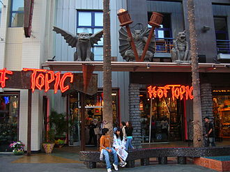 Hot Topic - Hot Topic at Universal CityWalk in Hollywood, California, displaying the Hot Topic logo used during the peak of the company's popularity.